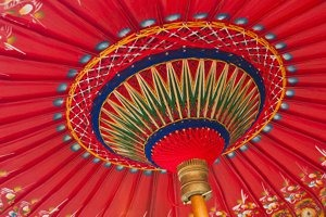 Red and Blue Thai Umbrella